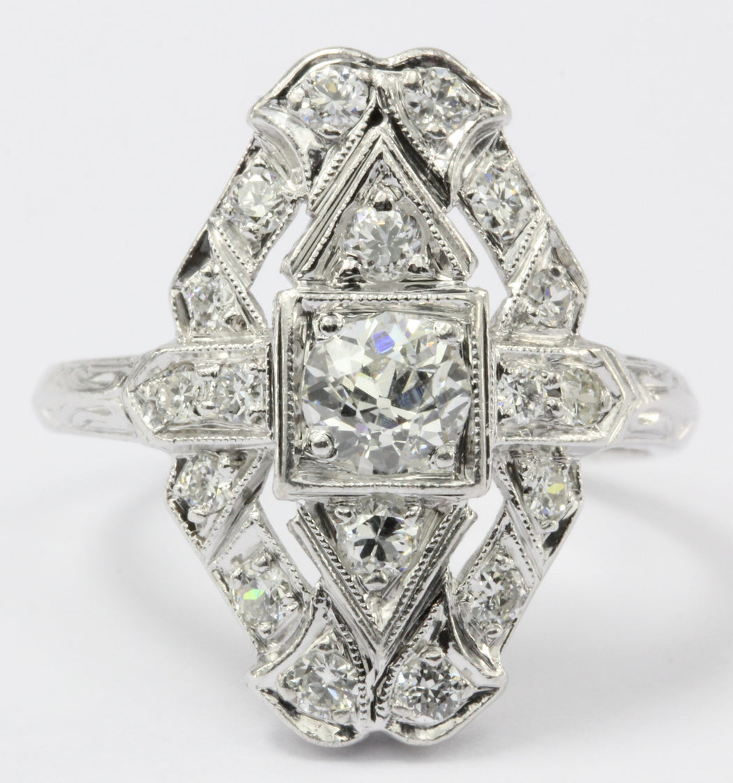 Art Deco Platinum Old European Diamond Shield Engagement Ring - Queen May