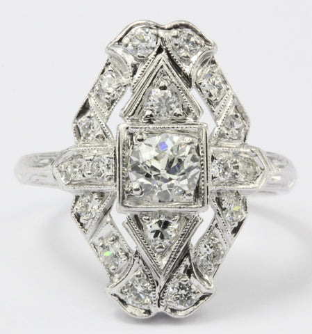 Art Deco Platinum Old European Diamond Shield Engagement Ring