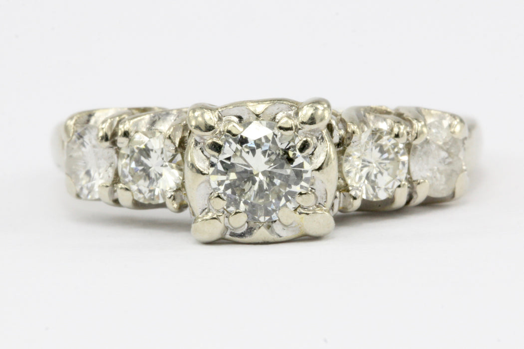 Antique 14K White Gold & Diamond Engagement Ring 1 ctw Size 6 - Queen May