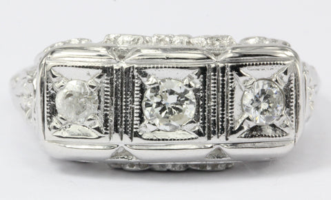 Art Deco 14K White Gold 3 Stone Diamond Engagement Ring c.1920