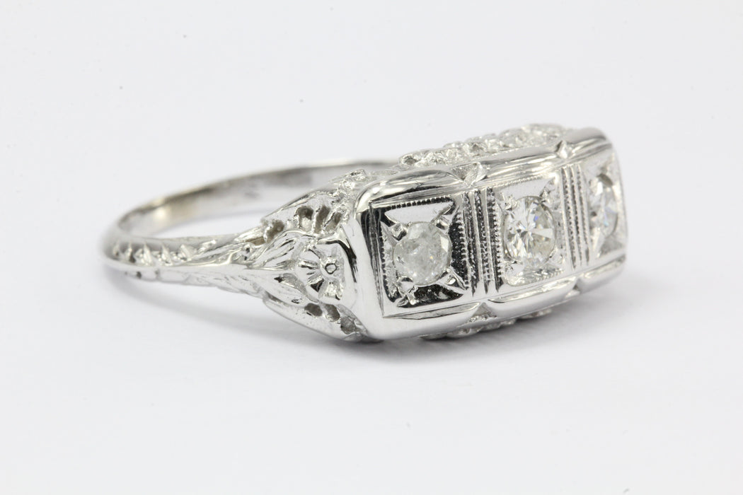 Art Deco 14K White Gold 3 Stone Diamond Engagement Ring c.1920 - Queen May