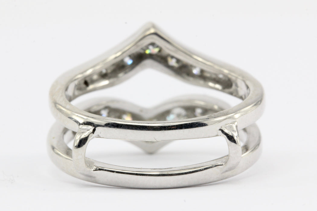 14K White Gold Diamond Ring Jacket Size 6.25 - Queen May