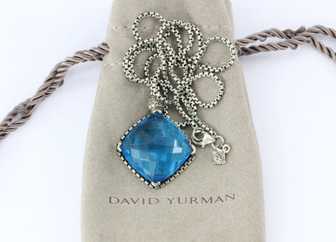 David Yurman Sterling Silver Blue Topaz & Diamond Cushion On Point Necklace