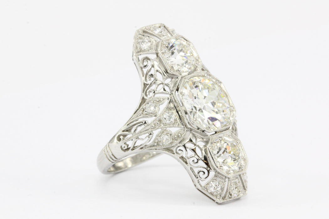 Art Deco Platinum Diamond Shield Ring - Queen May