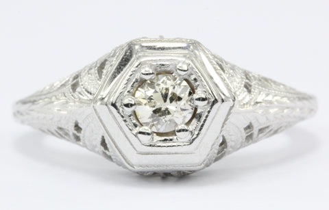 Gorgeous Art Deco 14K White Gold Old European Cut Diamond Engagement Ring c.1920