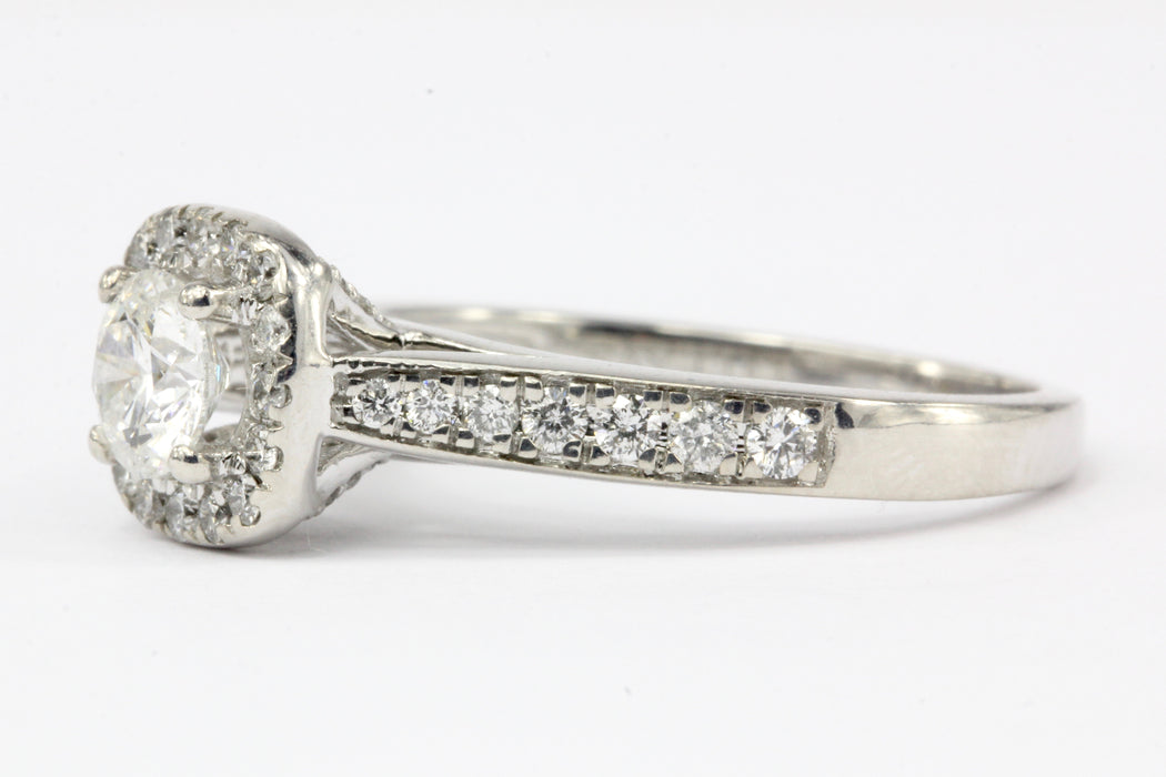 14K White Gold .52 CT Diamond Halo Engagement Ring Size 7 - Queen May
