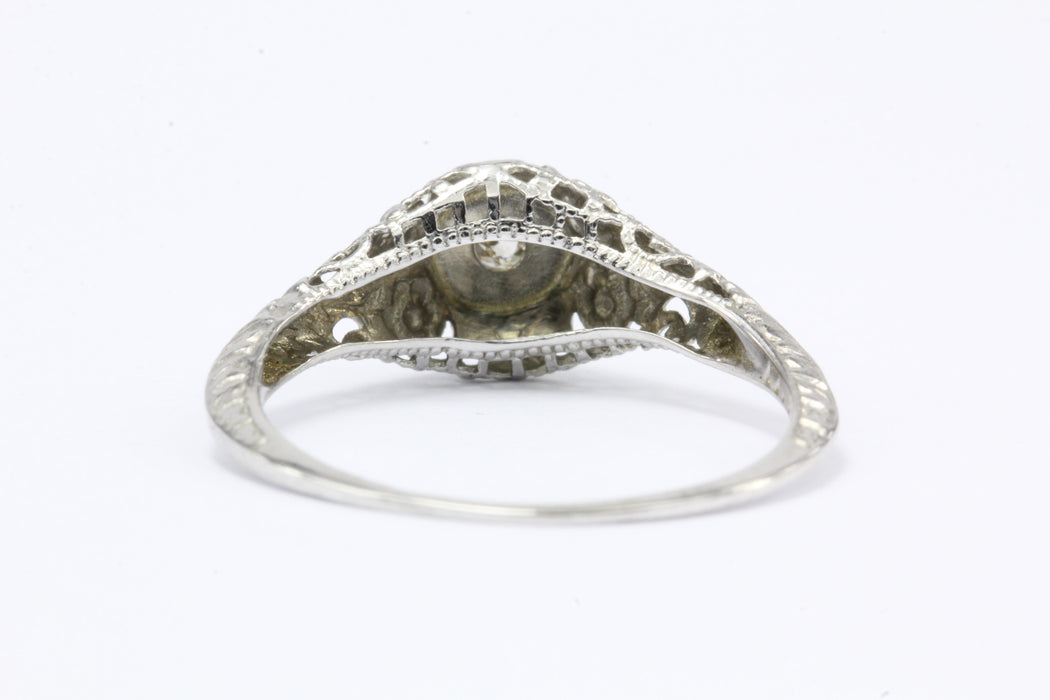 Late Edwardian 14K White Gold Old Mine Diamond Engagement Ring c.1910 - Queen May