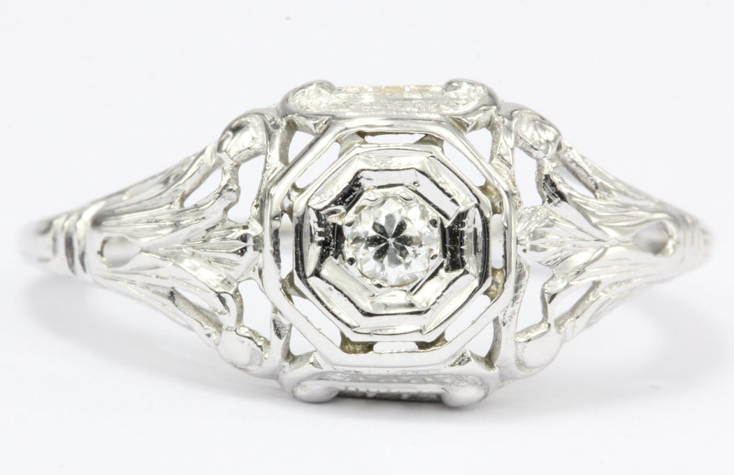18K White Gold Art Nouveau Old European Cut Diamond Engagement Ring