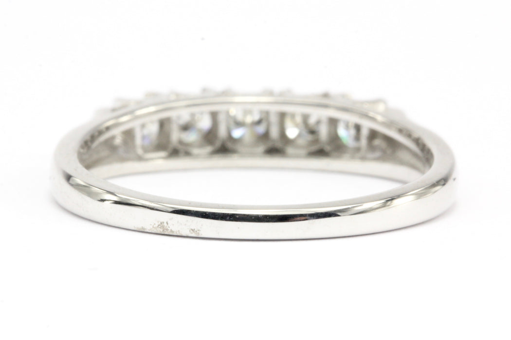 14K White Gold .35 CTW Diamond Half Eternity Band Size 6.25 - Queen May
