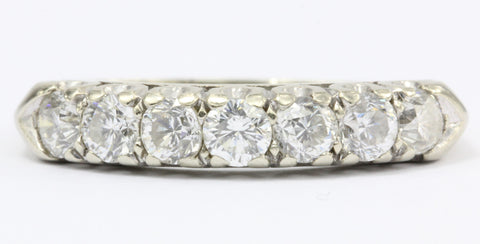 Art Deco 14K White Gold Diamond Ring c.1940's Size 7.75