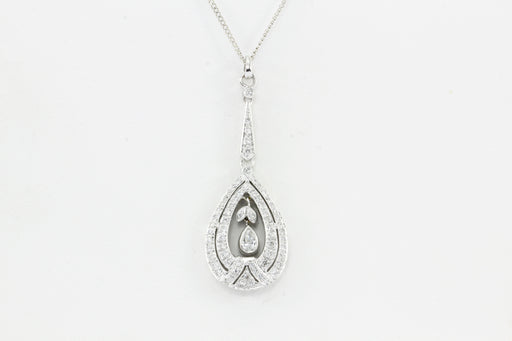 18K White Gold Diamond Pear Shaped Pendant - Queen May