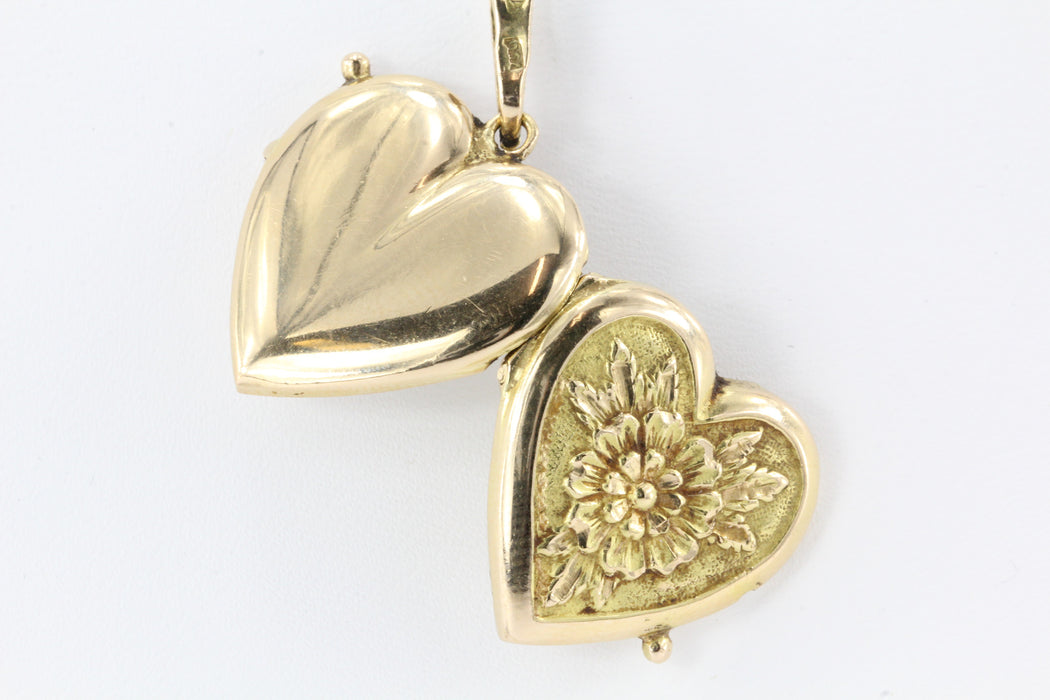 Vintage Venice Italy 18K Gold Floral Heart Locket GRASER GIUSEPPE Pendant c.1950 - Queen May