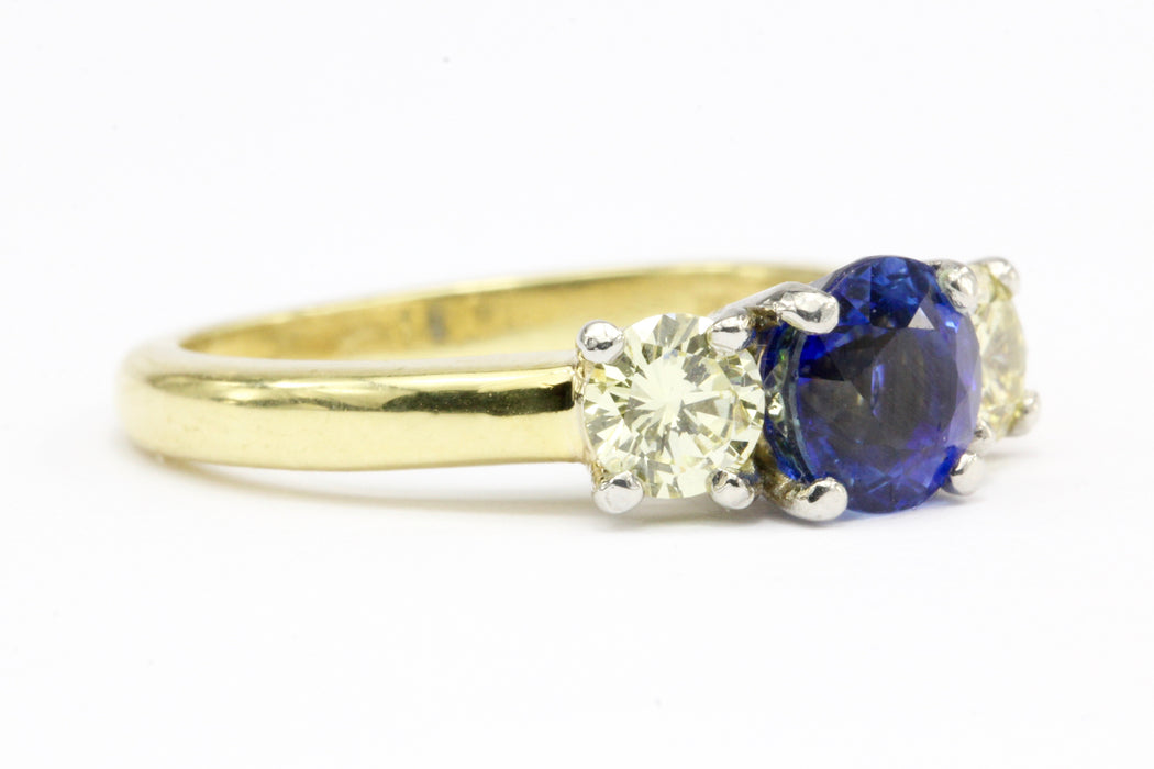 18K Gold 1.52 CT Madagascar Sapphire & Natural Light Fancy Yellow Diamond Ring AGL Certificate