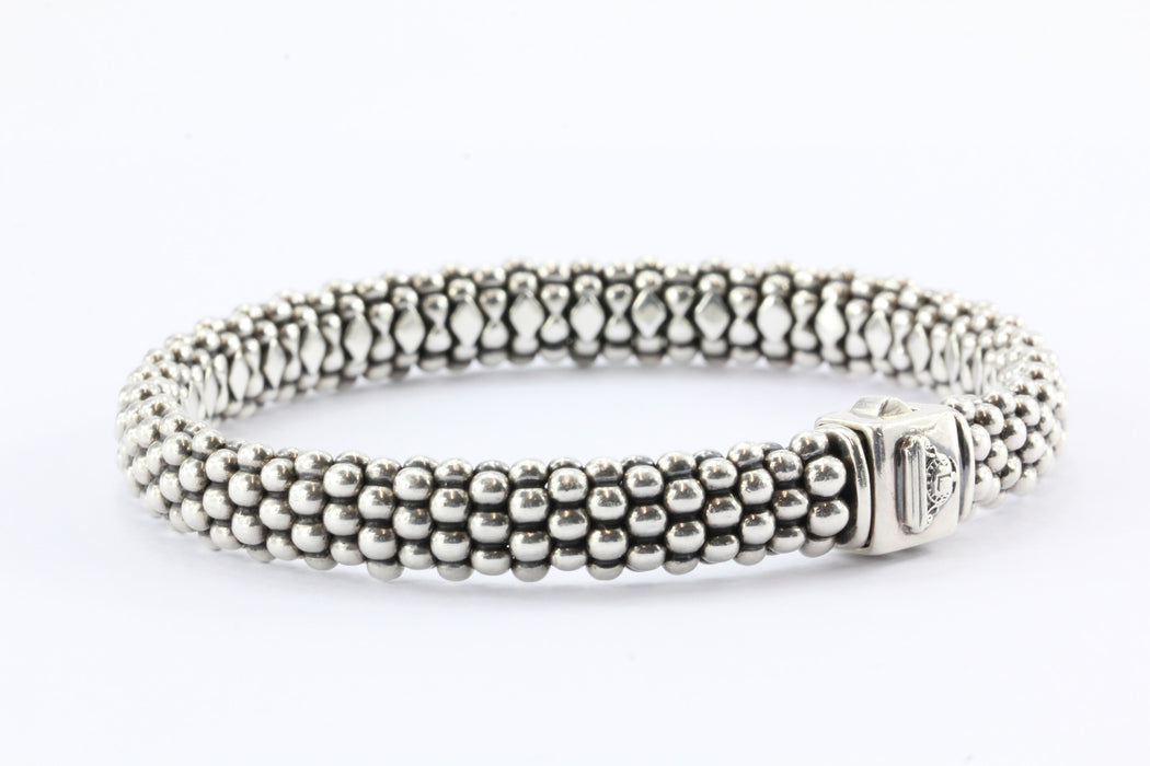 Lagos Caviar Sterling Silver Oval Rope Bracelet - Queen May