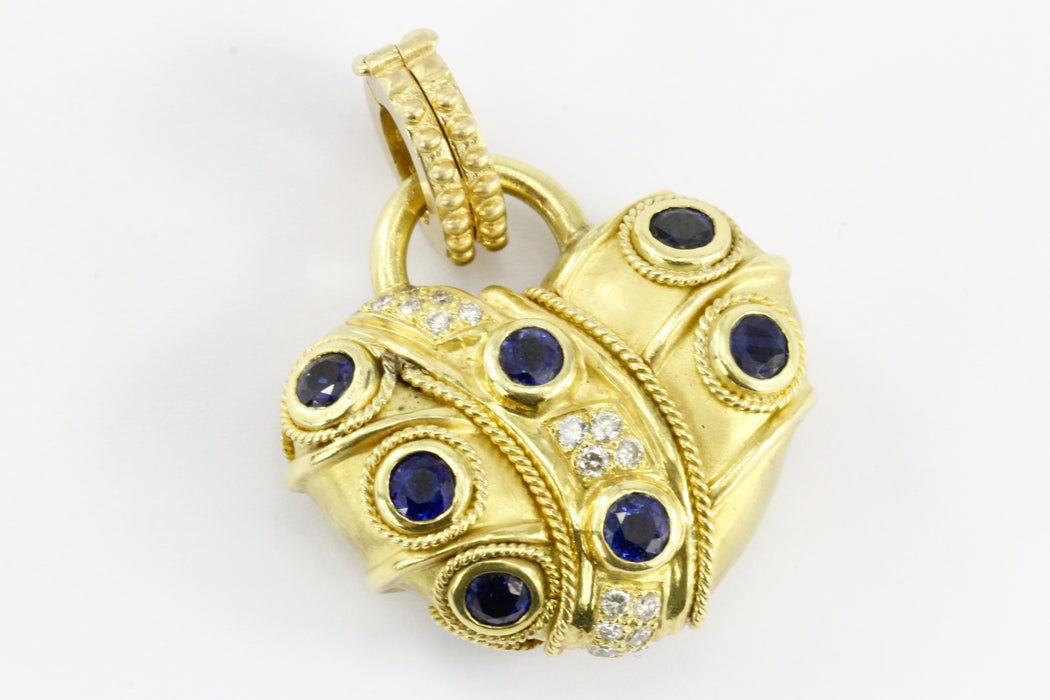 18K Brushed Yellow Gold Natural Sapphire Natural Ruby and Diamond Heart Shaped Enhancer Pendant - Queen May