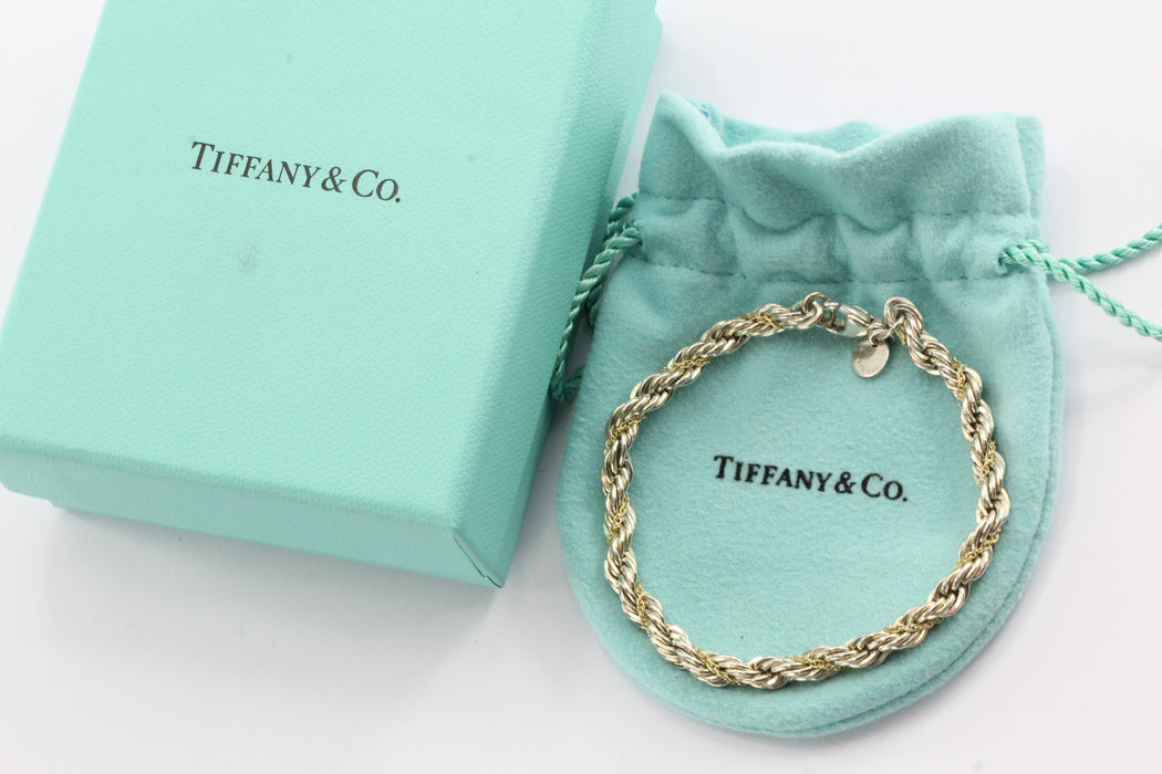a72f06424 Tiffany & Co Sterling Silver & 18K Gold Rope Chain Wrap Bracelet - Queen ...