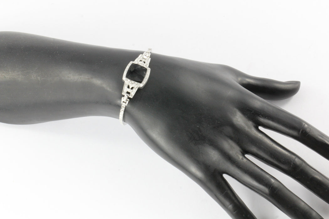 Art Deco Platinum & 14K White Gold Diamond & Onyx Conversion Bracelet