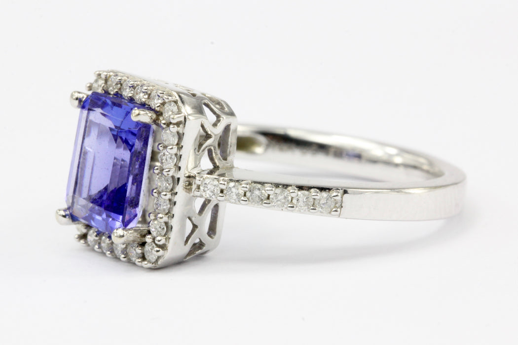 14K White Gold Tanzanite Diamond Halo Ring Size 6.25 - Queen May