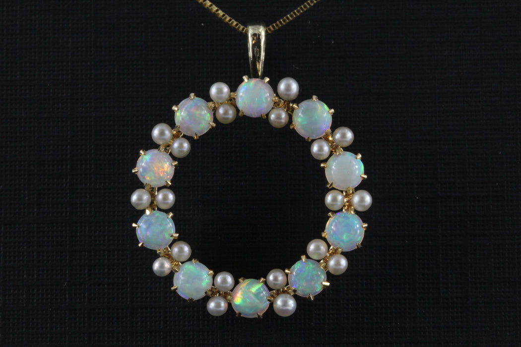 Edwardian 14K Gold Opal & Seed Pearl Wreath Pendant Necklace c.1910 - Queen May