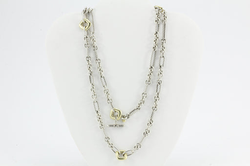 David Yurman Figaro Donut Extra Long necklace 18K Gold & Sterling Silver 36""