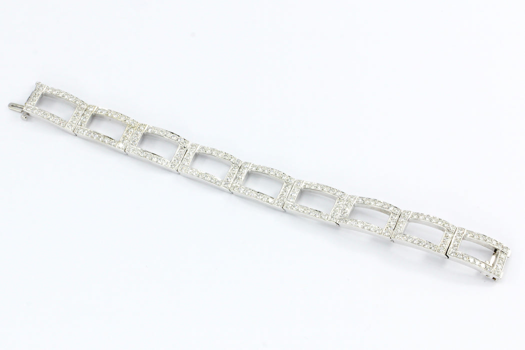 18K White Gold Diamond Rectangular Link Tennis Bracelet 8 CTW - Queen May