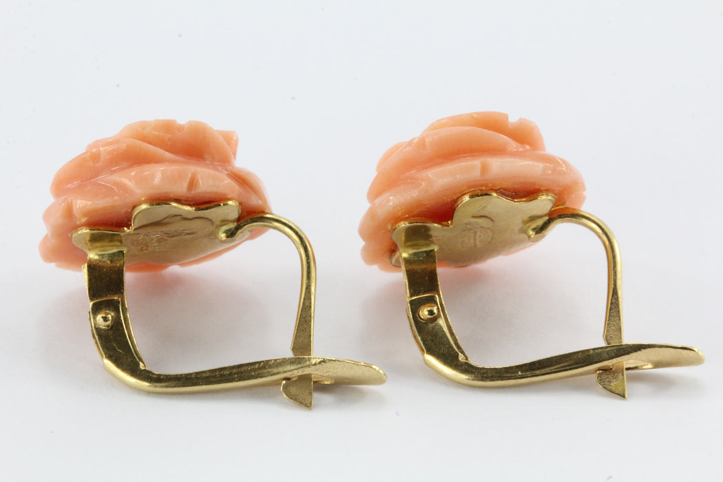 18K Gold Pink Angel Skin Carved Coral Rose Earrings Italy c.1960