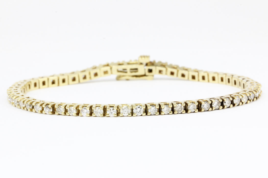 14K Yellow Gold 3 Carat Diamond Tennis Bracelet