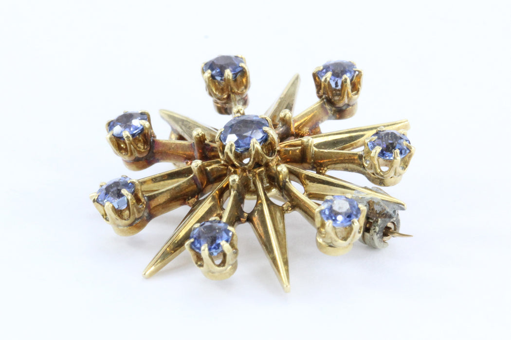 Antique Art Deco 18K Gold Sapphire Star Burst / Snowflake Pendant / Brooch - Queen May