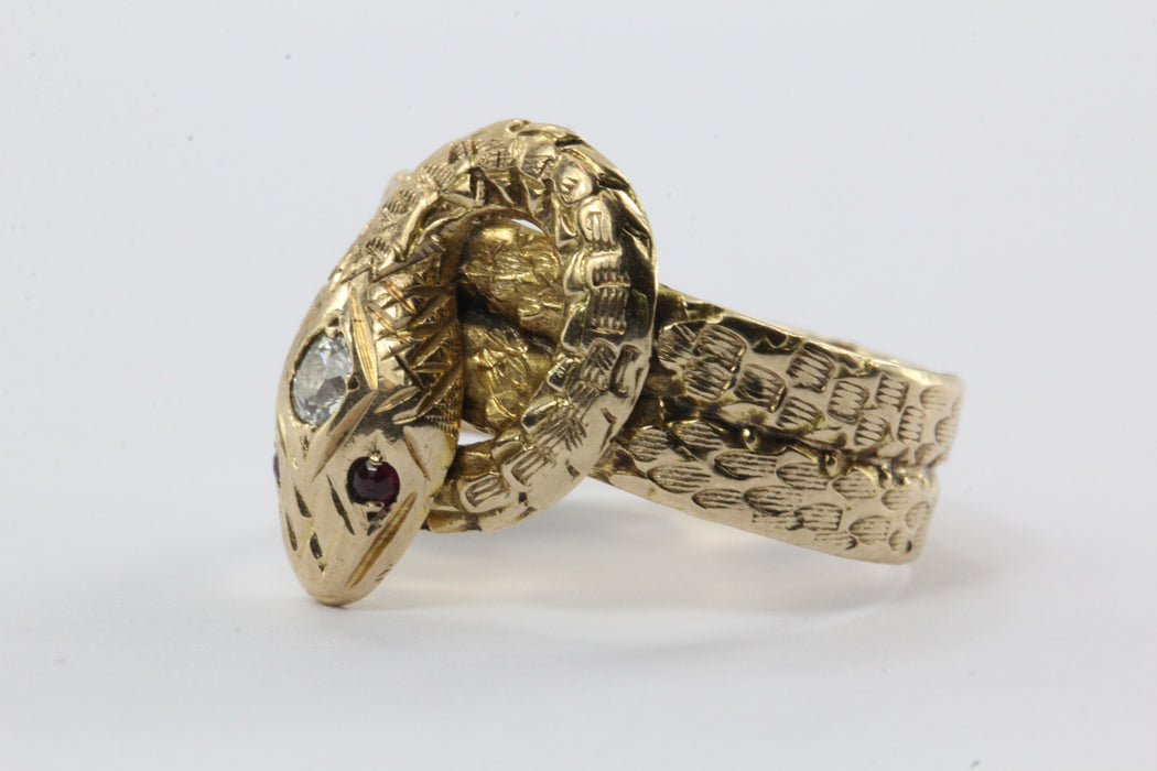Antique 10K Ruby & Old European Diamond Figural Coiled Snake Ring