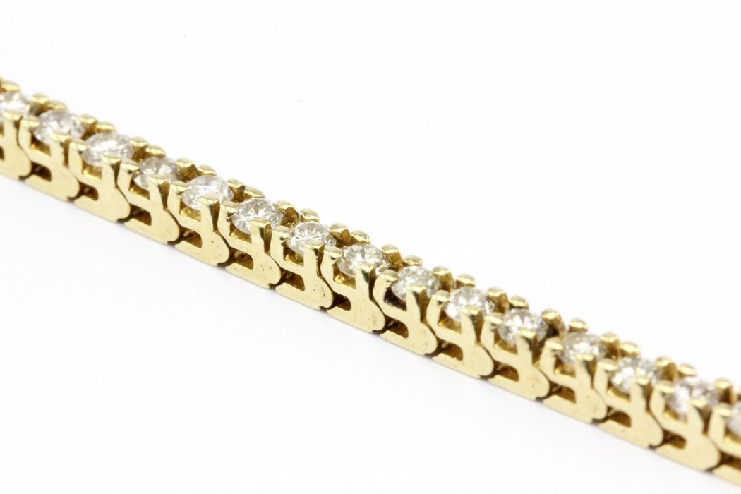 14K Yellow Gold 3 Carat Diamond Tennis Bracelet - Queen May
