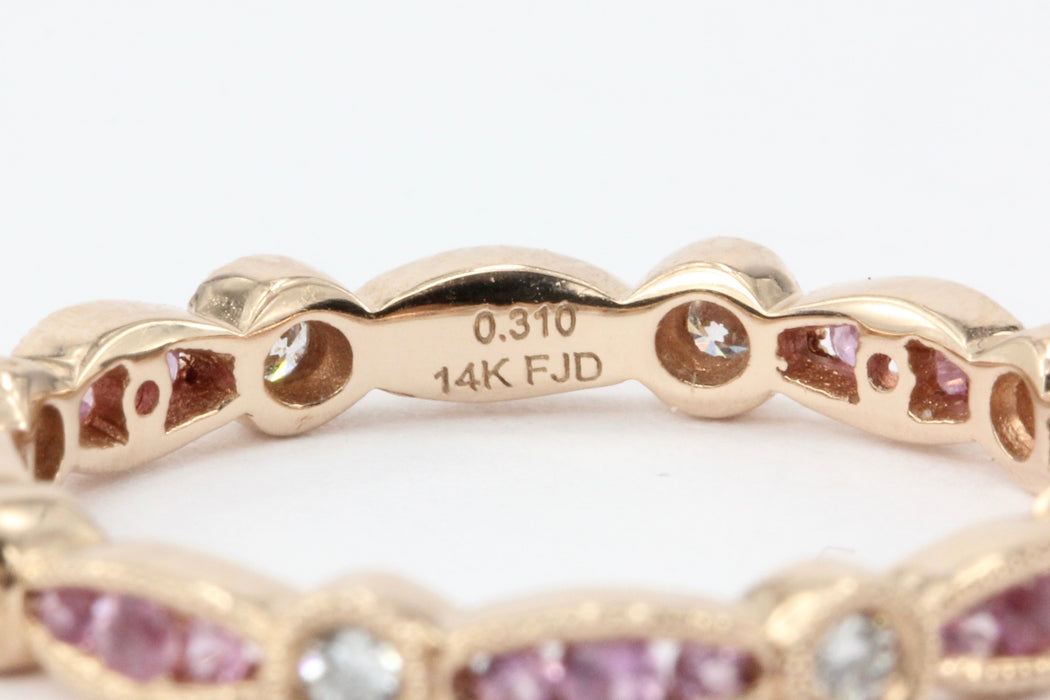 14K Rose Gold Pink Sapphire and Diamond Band