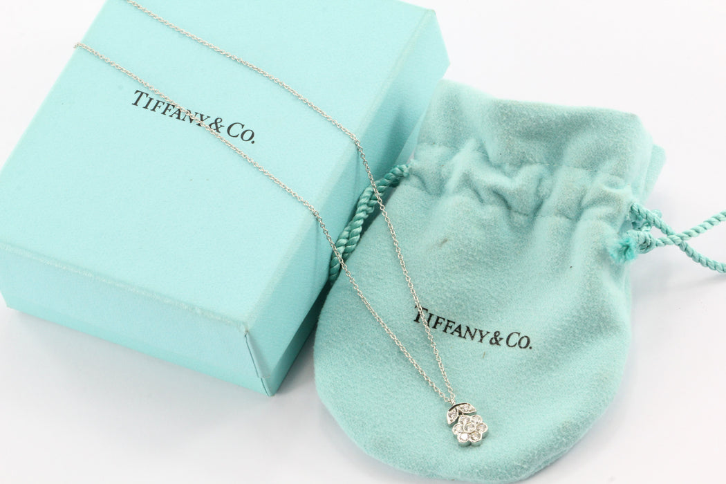 Tiffany & Co Platinum & Diamond Flower Blossom Pendant Necklace .26 CTW - Queen May