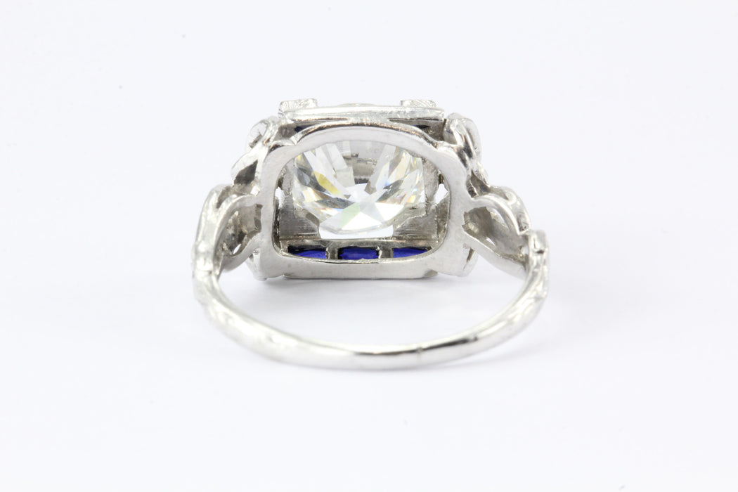 Art Deco Platinum GIA 2.09 Carat Diamond Sapphire Ribbon Engagement Ring - Queen May