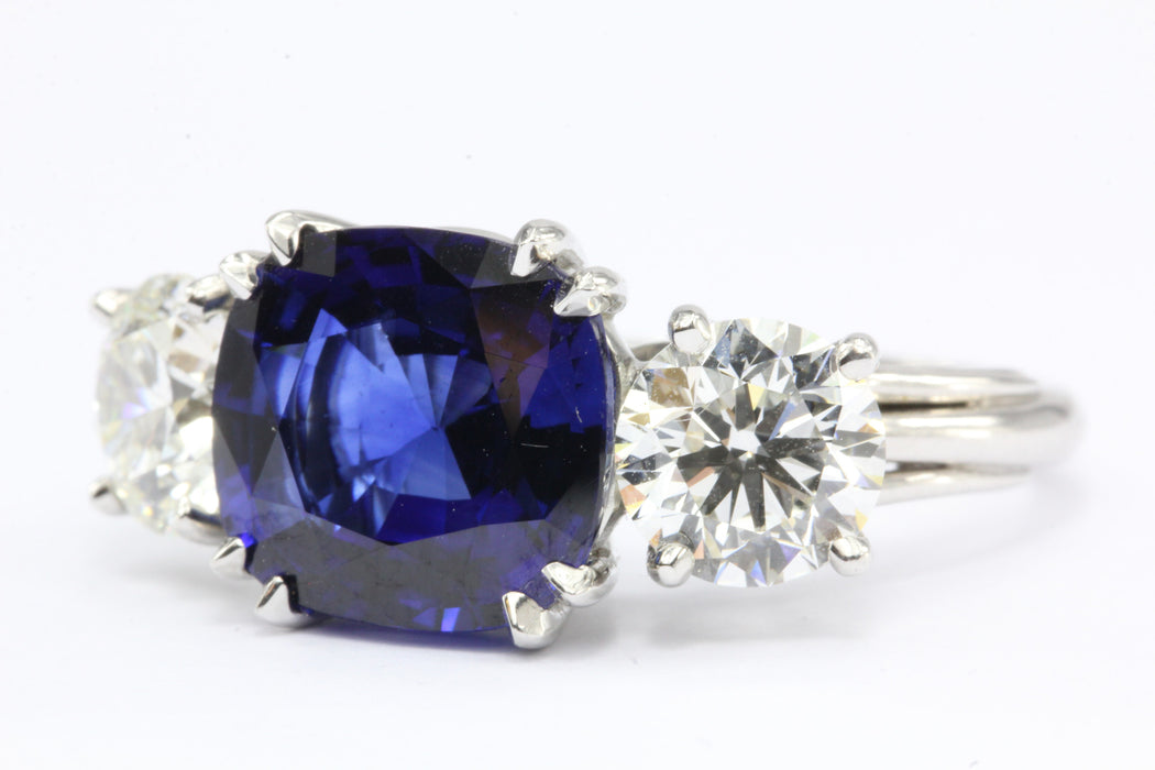 Natural AGL Intense Blue Sapphire and 2 Carat Diamond Ring - Queen May
