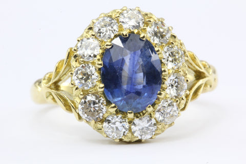 English Natural Burma Sapphire Old European Cut Diamond Ring AGL Certified