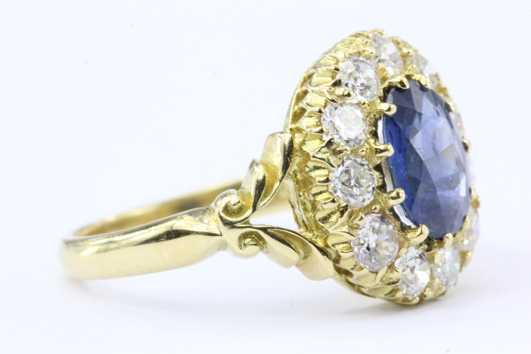 English Natural Burma Sapphire Old European Cut Diamond Ring AGL Certified - Queen May