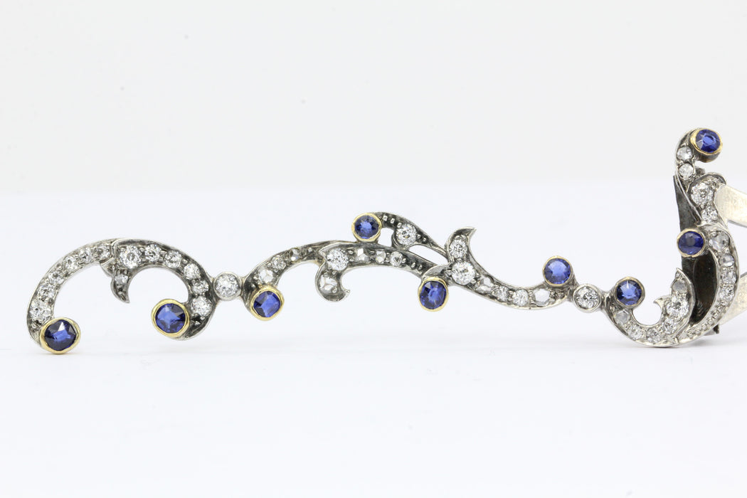 Antique Edwardian Gold & Silver Diamond Sapphire Hair Clip Barrette C.1900 - Queen May