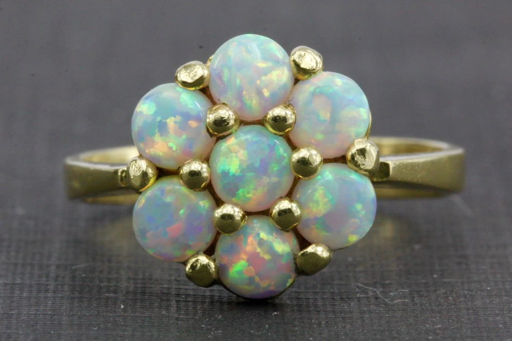 Vintage 14K Gold Opal Cluster Ring 1 CTW - Queen May