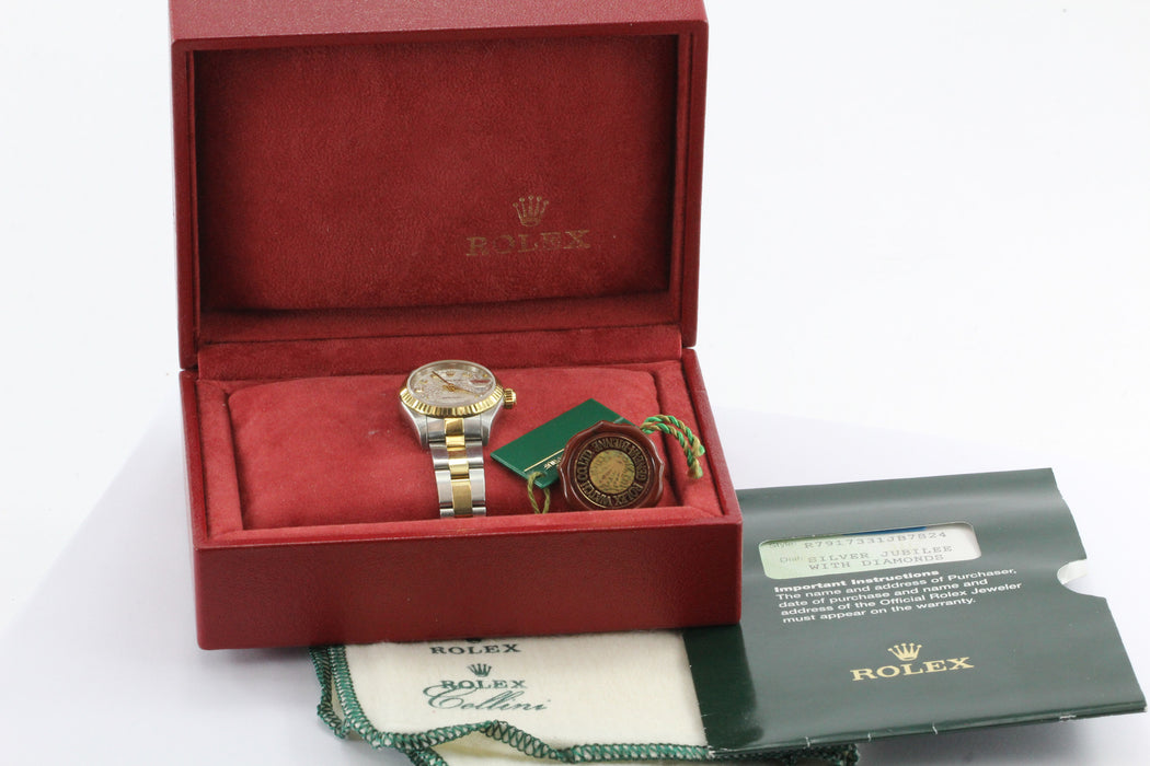 Rolex Oyster 79173 Datejust Swiss Diamond Silver Jubilee Watch w/ box & papers - Queen May