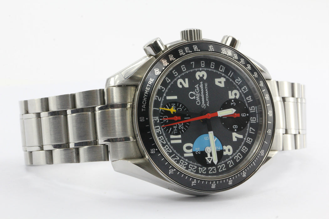 Omega Speedmaster GMT Automatic Mark 40 Chronograph Model 175.0084 Watch w/ box - Queen May