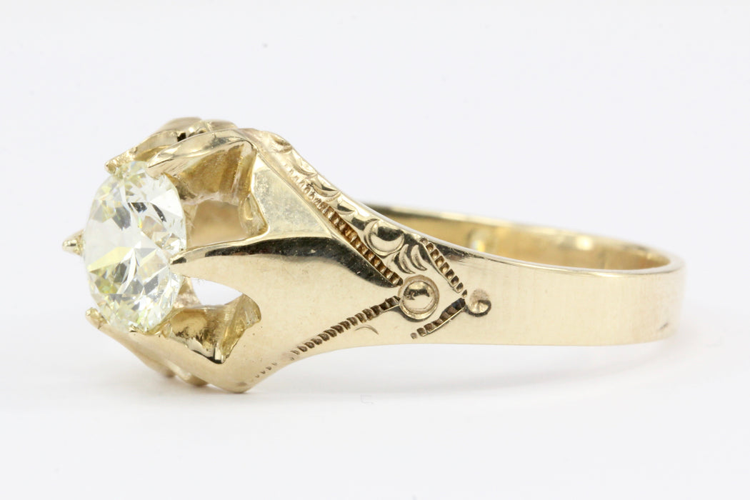 Victorian 10K Yellow Gold 1.2 CT Belcher Mount Old European Cut Diamond Ring Size 11