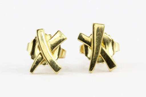 "Tiffany & Co Paloma Picasso 18K Yellow Gold Kiss ""X"" Earrings"