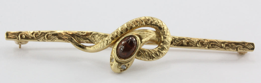 Vintage 14K Gold Victorian Style Diamond & Garnet Snake Bar Pin - Queen May