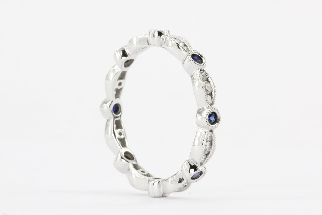 14K White Gold Diamond And Sapphire Band
