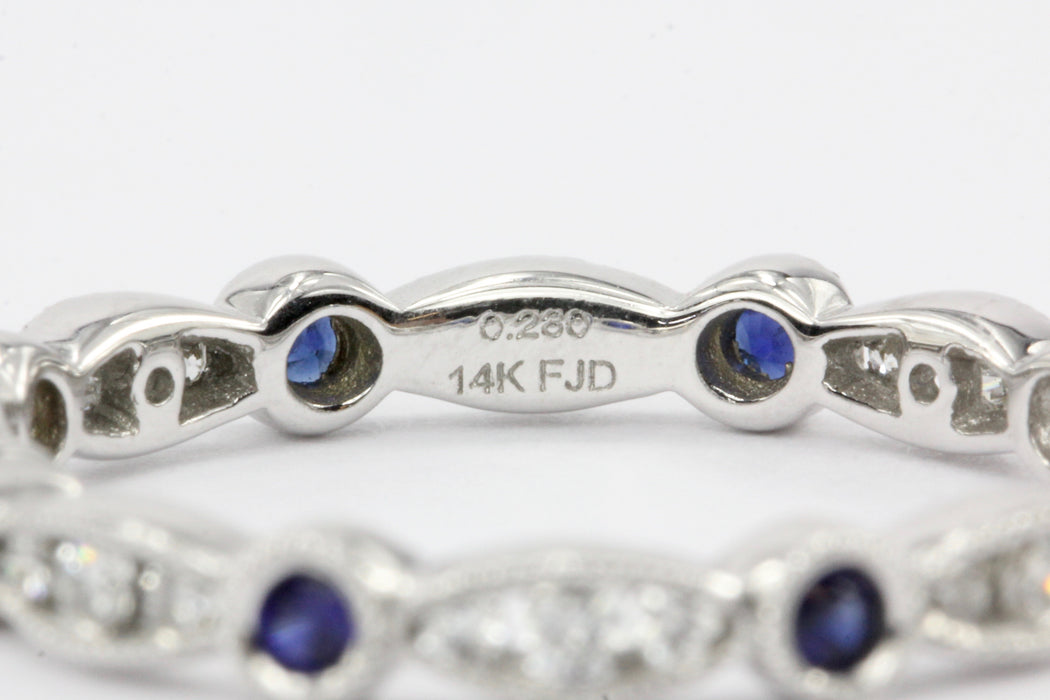 14K White Gold Diamond And Sapphire Band - Queen May