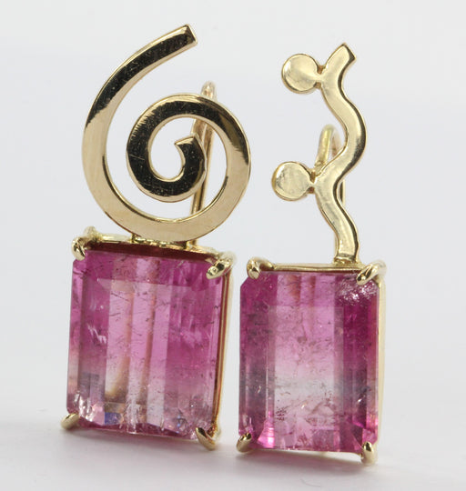 Vintage 14K Gold Pink Tourmaline Post Modern Memphis PoMo Earrings - Queen May