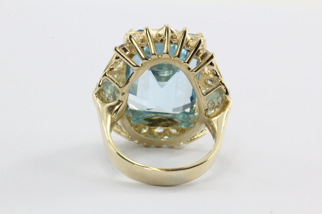 Vintage 14K Gold Swiss Blue Topaz & Diamond Large Chunky Cocktail Ring - Queen May