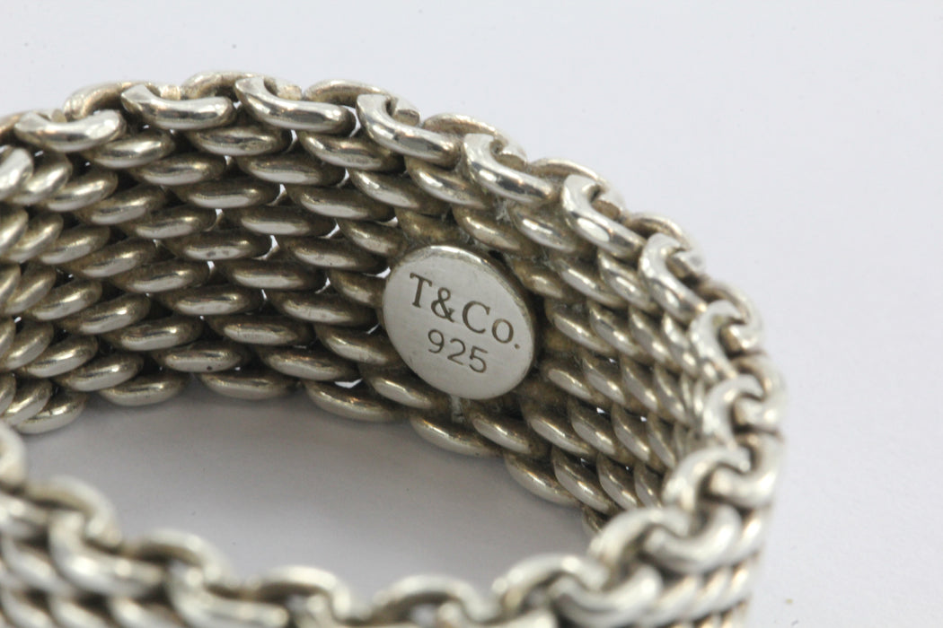 Tiffany & Co Sterling Silver Somerset Mesh Ring Size 10.5 - Queen May