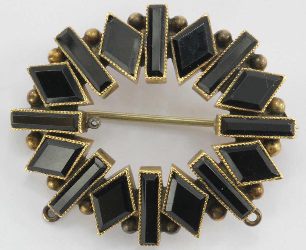 Antique Victorian 14K Gold Black Jet Mourning Brooch - Queen May
