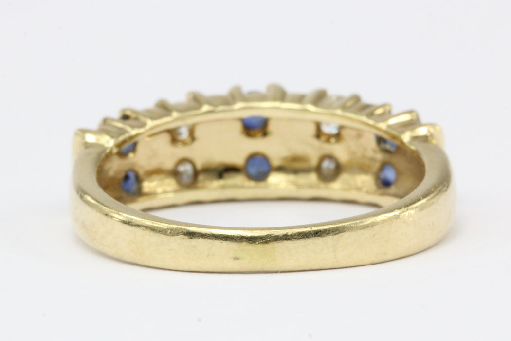 14K Yellow Gold Natural Sapphire and Diamond Band Size 4.5